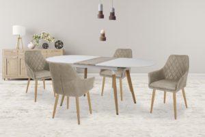 stół rozkładany w kolorze białym
